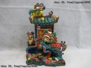 Taiwan Cochin Pottery Colorful Porcelain House Door Three Foo Dog Lion Play Game