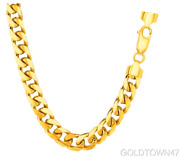 Menand039s Necklace In 14k Semi-solid Yellow Gold 7 Mm Thick Heavy Miami Cuban Chain