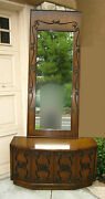Vintage Mid Century Modern Spanish Revival Entry Table And Wall Mirror Wrought