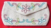 Vintage Jorelle Bags Clutch Purse White Seed Bead And Colored Floral Design Belgiu