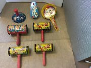 Antique Vintage Lot Of 7 Kirchhof Tin Litho Noise Makers Made In Usa