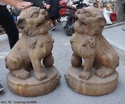 China Folk Shan Xi Old Wood Carved Feng Shui Door Guardian Foo Dogs Lion A Pair