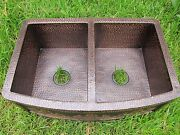 New Hammered Copper Double Bowl 50/50 Farmhouse Kitchen Sink