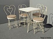 Vintage Ice Cream Parlor Industrial White Table And 4 Heart Shaped Metal Chair Set