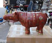 China Old Wood Wooden Hand Carved Painted Design Animal Rhinoceros Rhino Statue