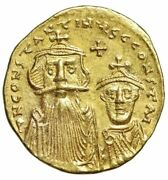 Constans Ii And Constantine Iv Av Gold Solidus Busts And Cross On Steps Ef