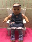 American Girl Dark Hair Bitty Baby Doll W Accessories Chair Clothes Shoes Outfit