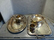 Ww2 Navy Silverplate Serving Platter Cup Bowl Etc Marked Usn