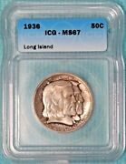 1936 Ms-67 Long Island Only 81826 Minted Classic Commemorative Silver Half
