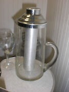Rare Vintage Deco Water Pitcher With Frozen Ice Chamber Clear And Silver Coated