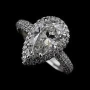 Pear Shape Diamond Cut Down Micro Pave Platinum Engagement Ring Mounting 2.6 Mm