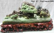 9 Chinese Dushan Jade Mountain Water Sail With The Wind Landscape Statue