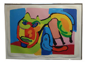 Karel Appel -1969 Abstract Cat-original Mid Century Lithograph-signed