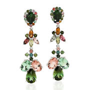 Memorial Day Sale 8.98 Natural Tourmaline Dangle Earrings 18k White Gold Jewelry