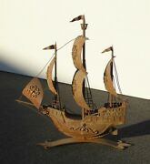 Vintage Rustic Wrought Iron 18th Century Style Sailing Ship Boat Spanish Galleon