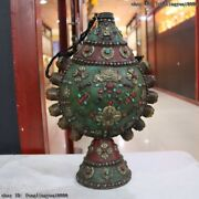 Tibet Copper Inlay Turquoise Coral Ruby Beryl Gemstone Snuff Bottles Vase Pot