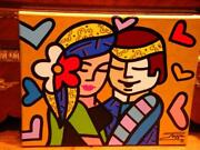 B4 It Goes 3550 Rare Original Jozza Mixed Media Britto Style 2 Lovers Painting