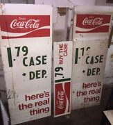 Large Vintage 1960and039s Coca Cola Metal Sign Lot Of 3 Matching Signs. Buy The Case