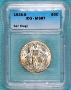 1935-s Ms-67 California Pacific Internation Expo San Diego Silver 70132 Minted