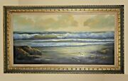 Vintage Oil On Canvas Painting Picture Ocean Wave By Beverly Carrick