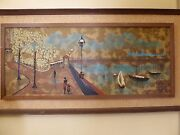 Vintage Mid Century 1970and039s Oil Picture Painting Harbor City Sceneby Fairchild