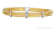 14kt Yellow+white Gold With Diamond 3 Barrel Element On 2 Row Wire Cuff Bangle