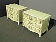 Pair Of Vintage French Provincial Ornately Painted Sage Nightstands By John Widd