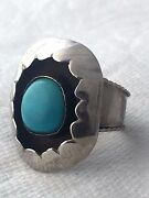 Vintage Sterling Silver Southwest Large Turquoise Shadow Box Ring Size 11 8.8g