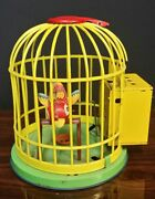 Vtg Old Collectible Rare Bird In Cage Sound Litho Wind Up Tin Toy Japan