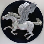 Pegasus Winged Horse Painted Wood Sculpture Figurine Carved Wall Art 30x30