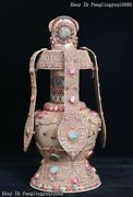 Old Nepal Tibet Silver Wire Inlay Crystal Sapphire Ruby Gem Bottle Vase Pot Jar