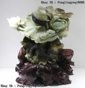13 Chinese Art Sculpture Natural Dushan Jade Lotus Leaf Flower Two Duck Statue