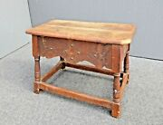 Antique French Country William And Mary Wood Bench W Storage Space By Cochran