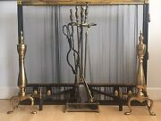 Antique Norwich Ny Solid Brass/iron Fireplace Screen W/andirons And Tools Set