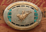 Vtg Johnson Held Hand Made Cowboy Bull Rodeo Turquoise Inlay Western Belt Buckle