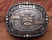 Gist Sterling Silver Overlay Chsra All Around Champion 02-03 Trophy Belt Buckle