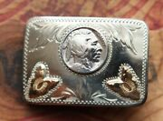 Vintage Small Comstock Arrowheads Indian Nickle Coin Western Belt Buckle