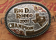 Gist Sterling Silver Overlay Champion Texas Cowboy Western Trophy Belt Buckle