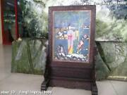 31chinese Royal Rosewood Handwork Inlay Cloisonne Enamel Mother For Boy Screen