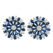 Memorial Day 5.84 Natural Sapphire Stud Earrings 10k White Gold Diamond Jewelry