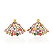 Natural Multi-color Sapphire Stud Earrings 18k Yellow Gold Jewelry
