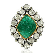 10.98 Natural Emerald Cocktail Ring 18k Yellow Gold Diamond 925 Silver Jewelry