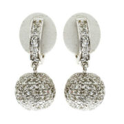 2.71ct Pave Diamond 18kt Solid White Gold Handmade Dangle Earrings Girls Jewelry