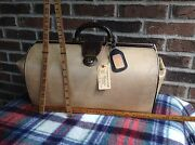 Vintage 1940's Canvas And Leather Gladstone Traincase Carry-on Doctor Bag R898