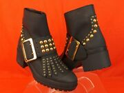 Whitchester Black Oiled Leather Fringe Gold Studded Belted Boots 40.5