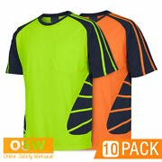 10 X Hi Vis Cool Breathable Safety Spider Tradies/builder Work S/s Tees T-shirts