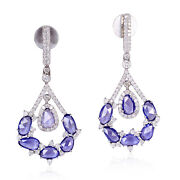 5.7 Ct Blue Sapphire Pave Diamond 18kt Solid White Gold Dangle Earrings Jewelry