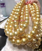 Aaaaa Long 4812-13mm Natural Round South Sea Golden Pearl Necklace 14k Gold