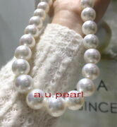 Aaaaa 1712-14mm Round Real Natural South Sea White Pearl Necklace 14k Gold