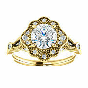 Antique Flower Halo Style Engagement Ring